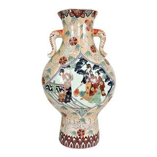 20th. Century Chinese Mandarin Pavillion Vase With Elephant Handles For Sale