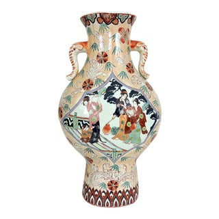 Antique Chinese Mandarin Pavillon Ceramic Vase With Elephant Handles For Sale