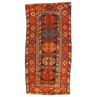 Late 19th Century Antique Russian Kazak Lambswool Rug - 3′3″ × 6′8″ For Sale
