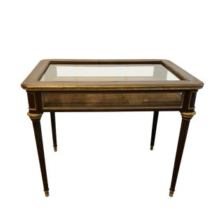 French Directoire Style Tulip Wood & Bronze Table Vitrine For Sale