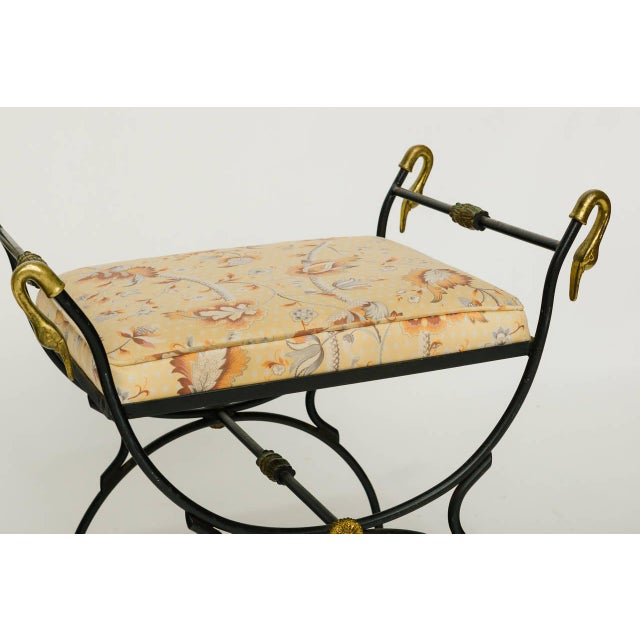 Outstanding 1960S Vintage Iron And Brass Classical Swan Bench Creativecarmelina Interior Chair Design Creativecarmelinacom