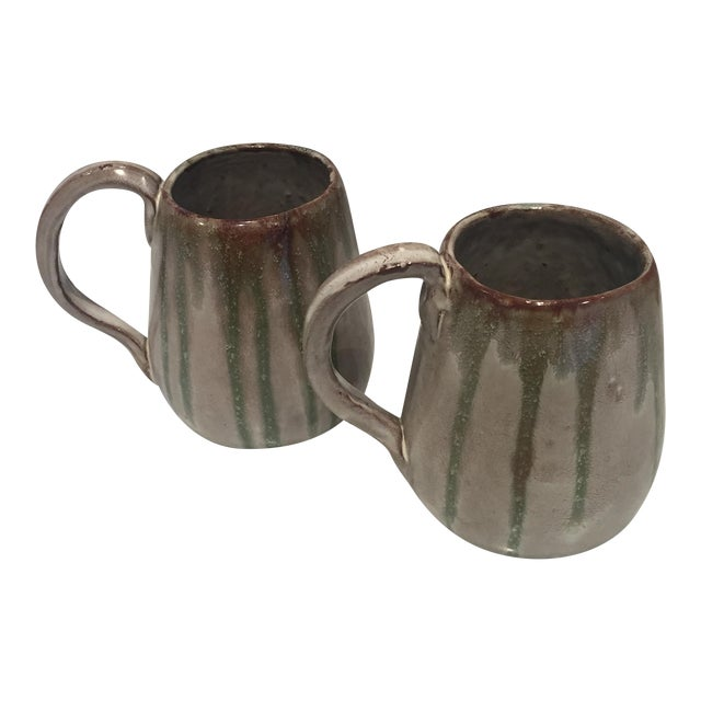 Vintage Studio Pottery Coffee Mugs - A Pair For Sale