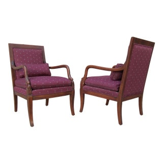 1990s Vintage Ethan Allen Federal Style Dolphin Mahogany Wood Arm Chairs- A Pair For Sale