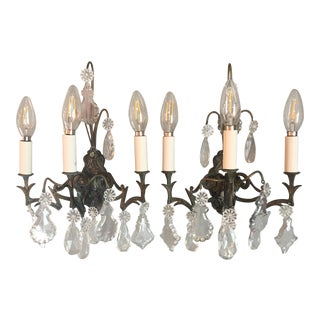 Napoleon III Wall Sconces With Crystals - a Pair