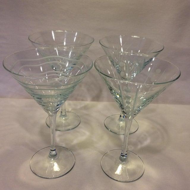 Vintage Etched Crystal Martini Glasses - Set of 4 - Image 2 of 11