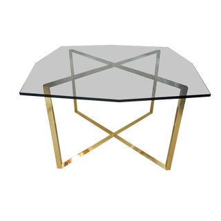 1970s Mid Century Modern Brass and Glass Dining Table