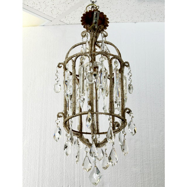 French Crystal Lantern Style Chandelier with Beading - Image 2 of 5
