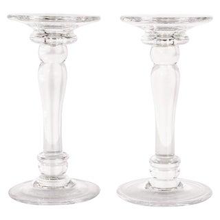 Mid-Century Modern Translucent Glass Doric Column Candlesticks - a Pair For Sale