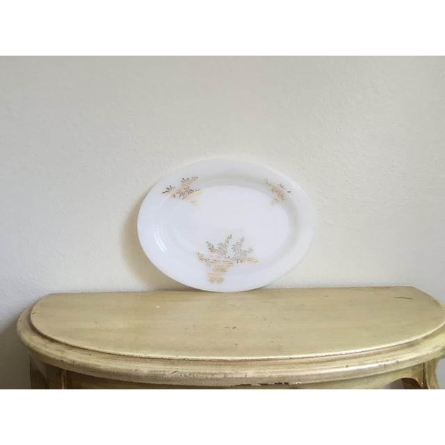 Gilded Milk Glass Mid Century Serving Tray - Image 8 of 8