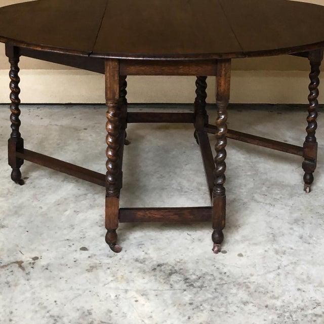 Antique Barley Twist Gateleg Drop Leaf Table For Sale - Image 4 of 13