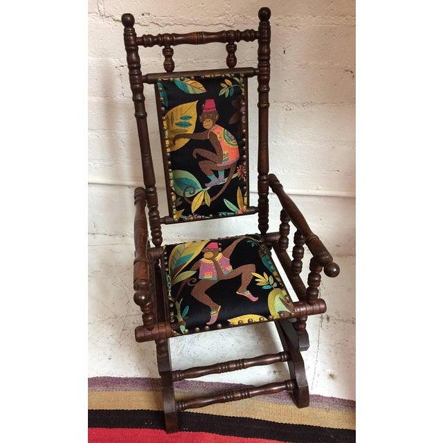 Brown 1920s Americana Children's Silk Velvet Chenille Wooden Rocker For Sale - Image 8 of 8