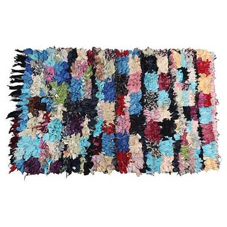 "Moroccan Boucherouite Pile Rug - 4'7"" X 3' For Sale"