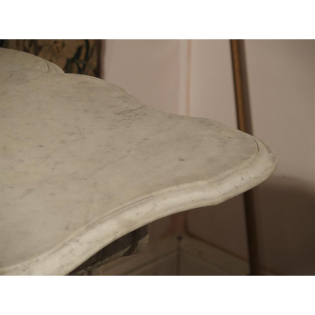 Stone Antique Carved White Marble Console Table from France, 19th Century For Sale - Image 7 of 13