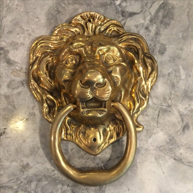 Oversize Brass Lion Head Door Knocker - Image 3 of 4