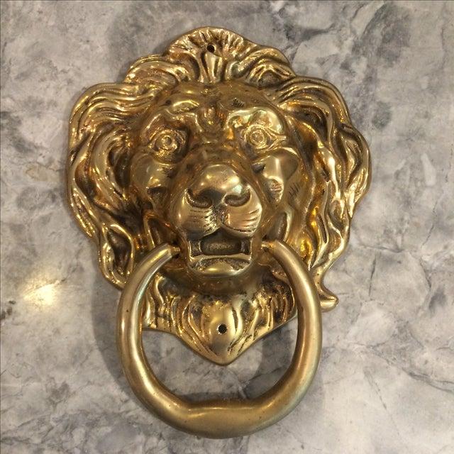 Hollywood Regency Oversize Brass Lion Head Door Knocker For Sale - Image 3 of 4