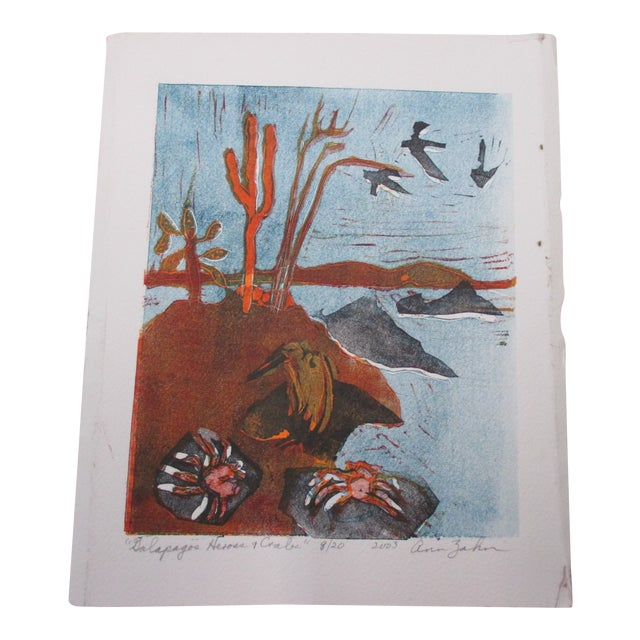 Vintage Lithography of Galapagos Herons and Crabs Signed by Artist: Ann Zahn For Sale
