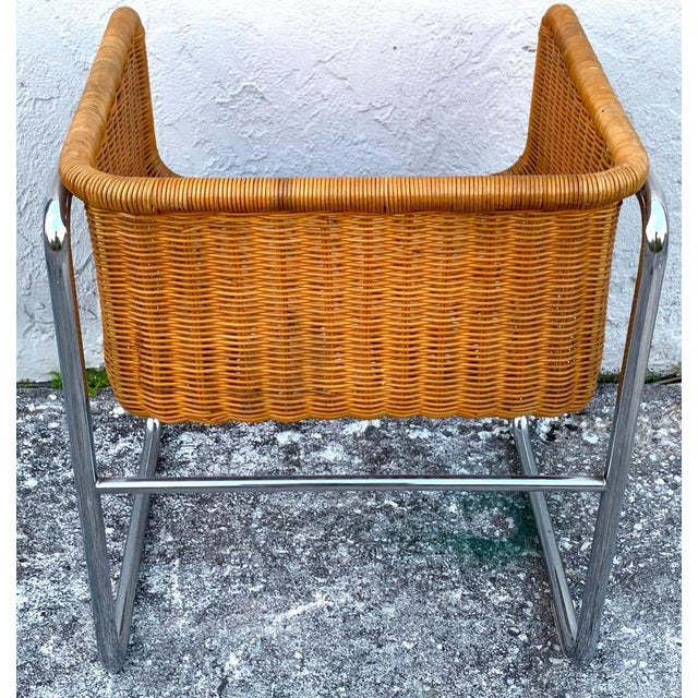 Mid 20th Century 1970s Chrome and Rattan Cube Club Chairs - a Pair For Sale - Image 5 of 6