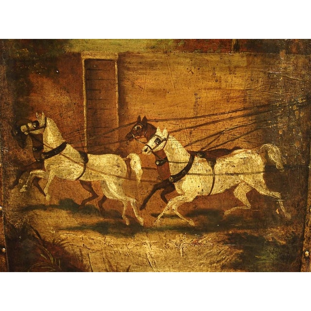 Antique Painted English Four Panel Leather Screen, 19th Century For Sale - Image 11 of 13