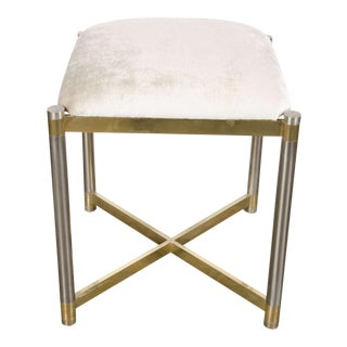Mid-Century Modernist X-Form Stool in the Manner of Karl Springer For Sale