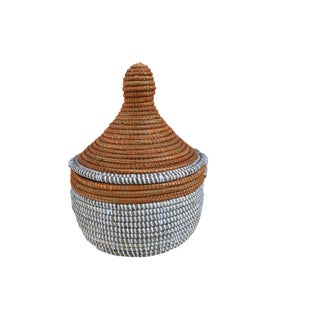 "African Pumpkin & White Basket W/ Lid Senegal West Africa 11"" For Sale"