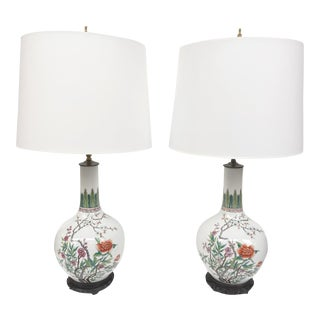Mid-20th Century Chinese Porcelain Table Lamps - a Pair For Sale