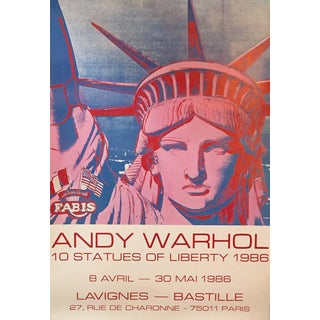 1986 Original French Exhibition Poster, 10 Statues (Lady Liberty), Andy Warhol For Sale
