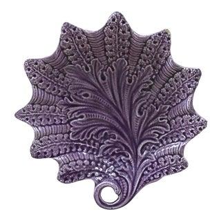 French Majolica Purple Dish Leaf Onnaing, Circa 1890 For Sale