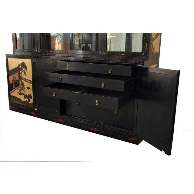 Monumental Black Lacquer and Gold Leafed Chinoiserie Breakfront - Image 3 of 6