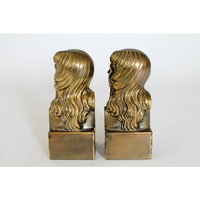 Metal Female Brass Bookends For Sale - Image 7 of 11