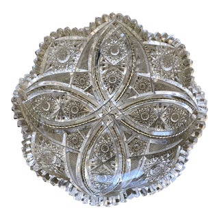 1950s Cut Crystal ly Centerpiece Bowl For Sale