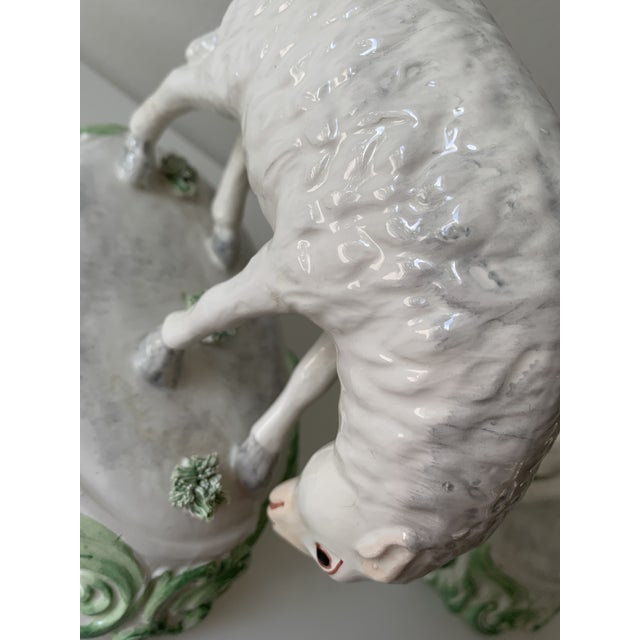 Ceramic Mid 20th Century Chelsea House Sheep Made in Italy - a Pair For Sale - Image 7 of 9