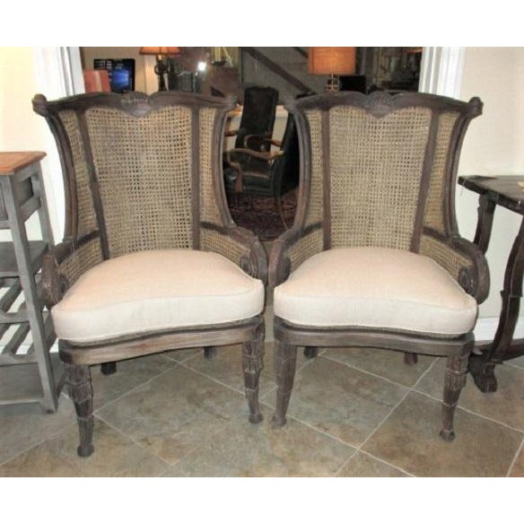 Modern Off White Linen Wingback Chairs French Style Cane and Mahogany Accent Chairs- A Pair For Sale - Image 9 of 9