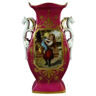 1870 Antique French Figural Porcelain Pictorial Old Paris Vase For Sale