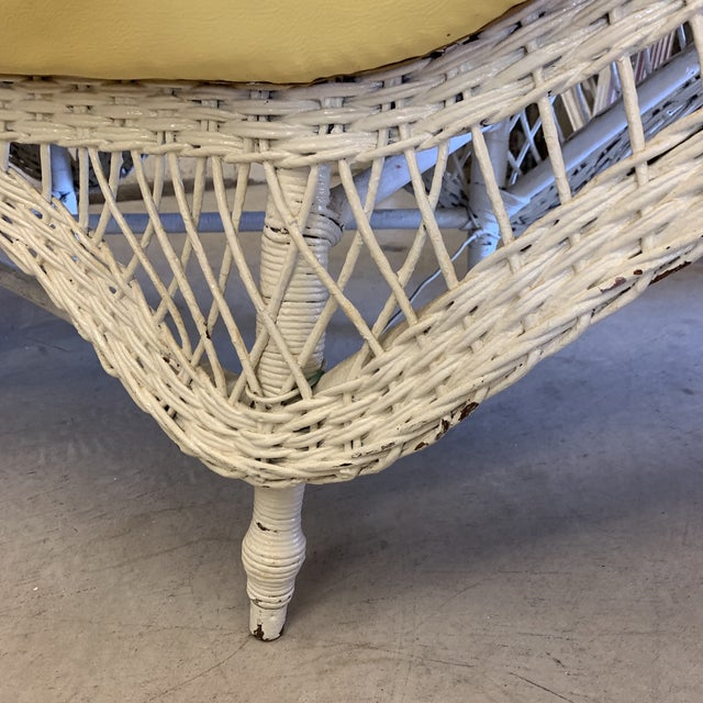 White Large Vintage Wicker Chaise Lounge For Sale - Image 8 of 13