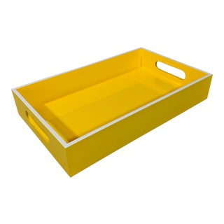 Yellow and White Lacquered Tray For Sale