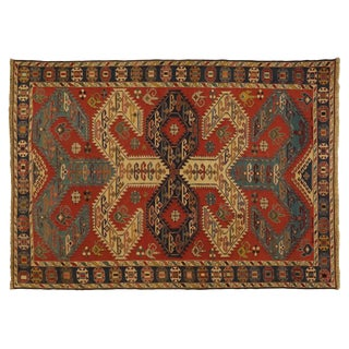 "Blue & Red Patterned Kilim Wool Rug - 6'8 X 9'6"" For Sale"