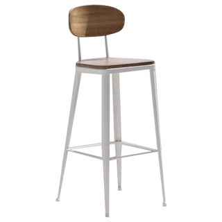 New Industrial Wrought Iron Shop Stool With Wooden Seat and Back For Sale