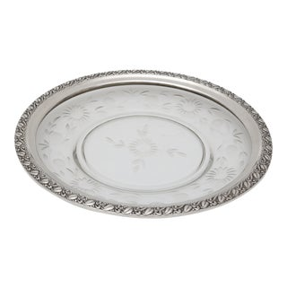 Sterling Silver Mounted Cut Crystal Floral Serving Dish 1930s