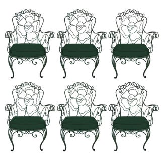 1940s Whimsical Wrought Iron Garden Chairs - Set of 6 For Sale