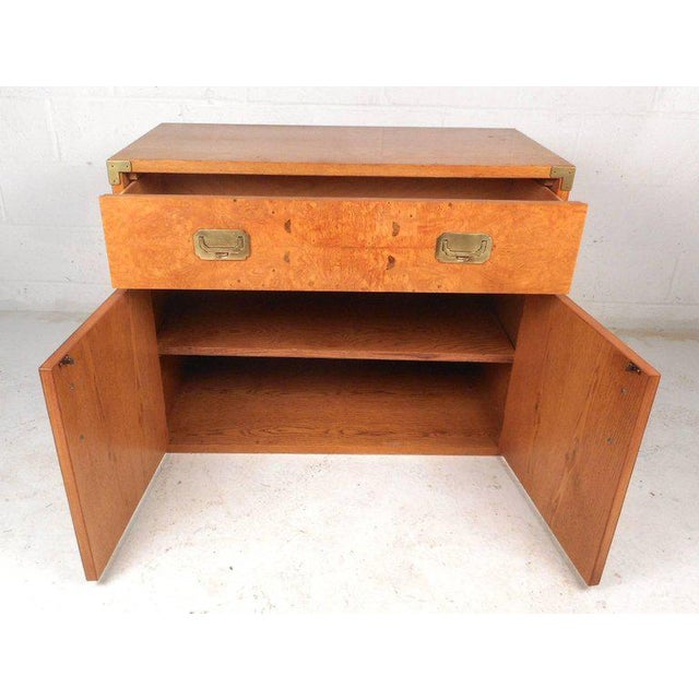 Vintage Modern Burl Campaign Chest For Sale - Image 4 of 9