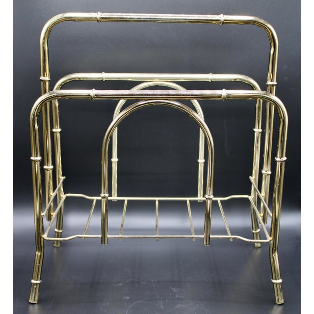 Metal Vintage Brass Bamboo Style Magazine Rack / Book Shelf For Sale - Image 7 of 13