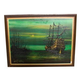 Lee Reynolds Burr, Ships at Sea Mystic Galleons Painting, Vanguard Studios La For Sale