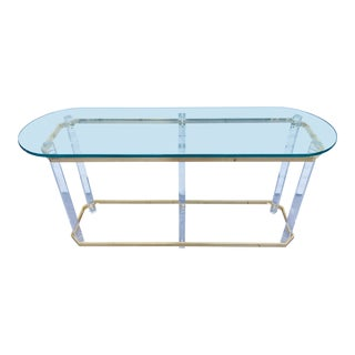 Charles Hollis Jones Lucite & Brass Console Table For Sale