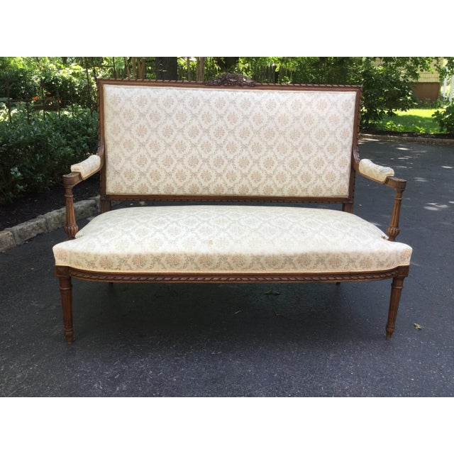 Late 19th Century 19th C. Louis XVI Style Walnut Settee For Sale - Image 5 of 9