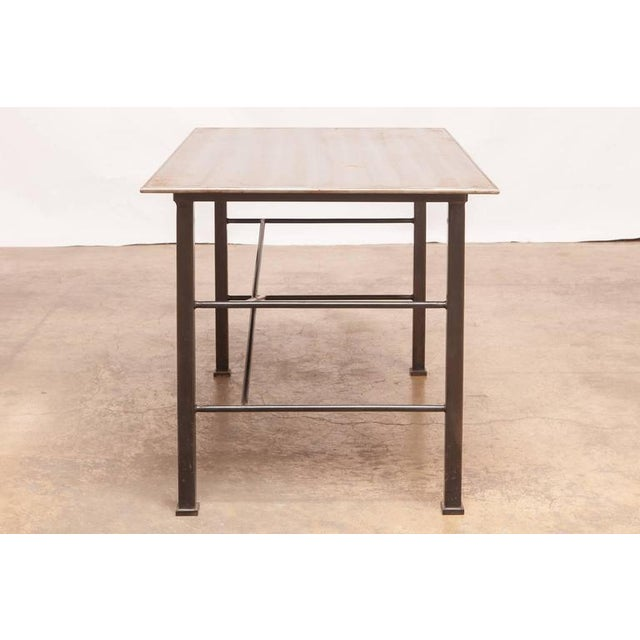 Modern Modern Industrial Steel Desk Work Table For Sale - Image 3 of 9