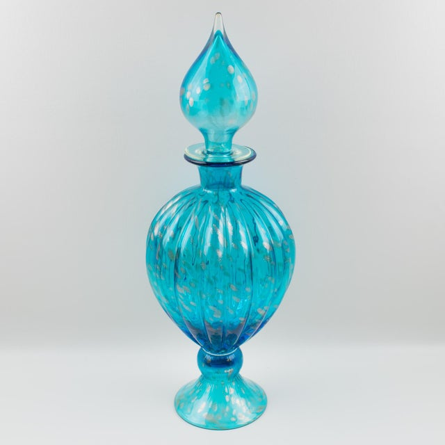 Italian Empoli Hand Blown Turquoise Glass Lidded Apothecary Jar Dispenser For Sale In Atlanta - Image 6 of 13