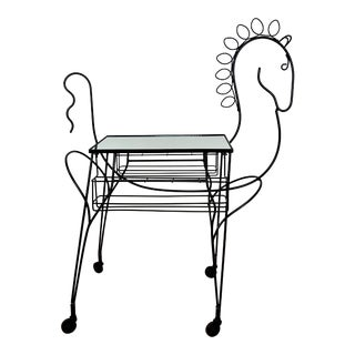 1960s Mid Century John Risley Wire Horse Form Bar Cart For Sale
