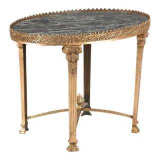 1950s Empire Gilded Bronze and Marble Top Side Table For Sale