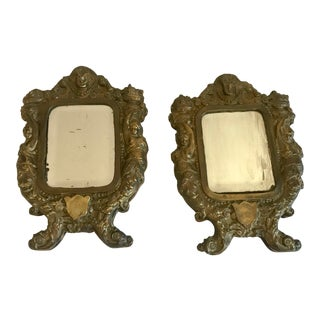 19th Century Italian Mirrors in Brass Frames - a Pair For Sale