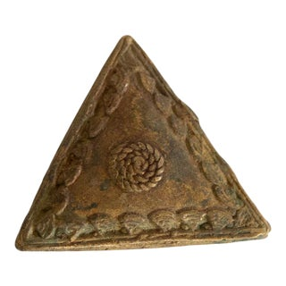 Vintage African Decorative Bronze Triangle For Sale